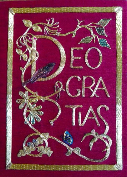 Embroidered bible in Balliol library: back cover.(Hand embroidered by Pauline Johnstone in memory of her husband).
