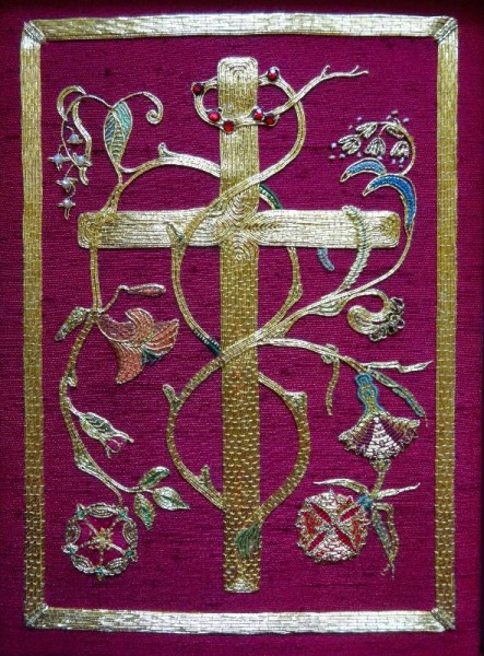 Goldwork embroidered bible in Balliol Library. Hand embroidered by Pauline Johnstone in memory of her husband Kenneth Roy Johnstone and given to the library in 1978