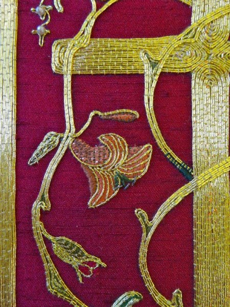 Embroidered goldwork bible in Balliol Library: detail of front (hand embroidered by Pauline Johnstone)
