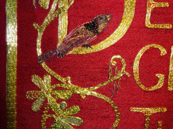 Embroidered goldwork bible in Balliol Library: detail of back (hand embroidered by  Pauline Johnstone)
