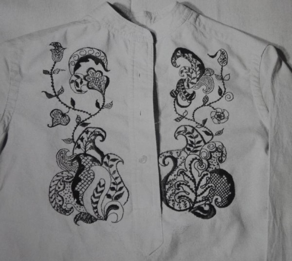 Blackwork embroidery on cotton shirt (hand embroidered by Mary Addison)