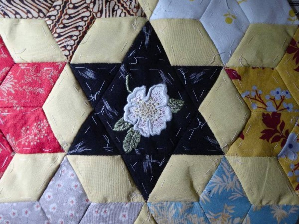 Ipsden Church, Oxon : patchwork altar frontal, detail of hellebore (hand embroidered by Mary Addison)