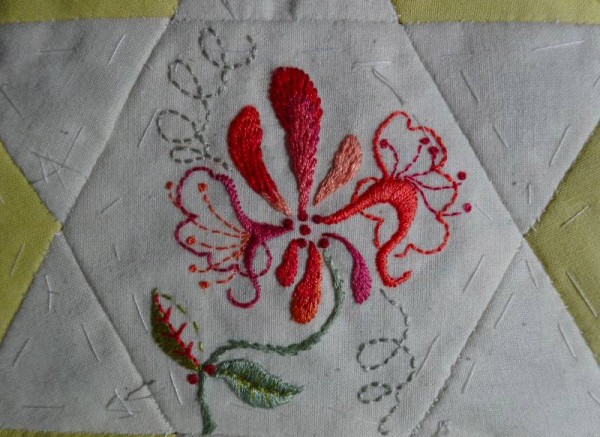 Honeysuckle (hand embroidered) for patchwork altar frontal project, Ipsden Church