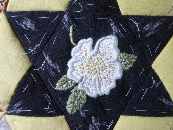 Hellebore:(hand embroidered detail) for patchwork altar frontal project, Ipsden Church, Oxon