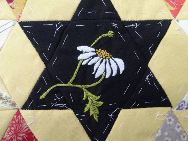 Ox eye daisy (hand embroidered) for patchwork altar frontal project, Ipsden Church