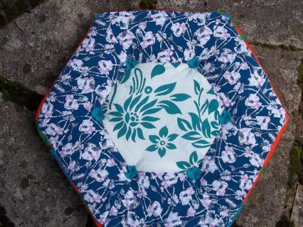 Hexagon patchwork cushion in Vietnamese fabrics