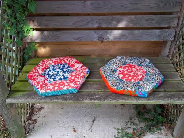 Hexagon patchwork cushions