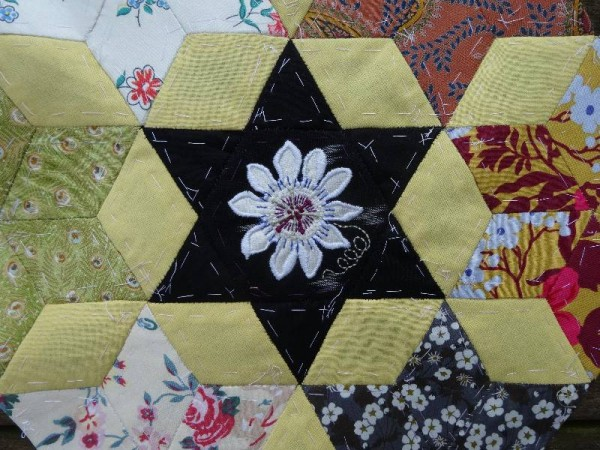 Ipsden Church, Oxon: patchwork altar frontal, detail of passionflower (hand embroidered by Mary Addison)