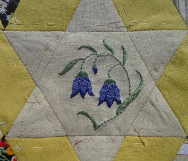 Ipsden Church, Oxon: patchwork altar frontal, detail of harebell (hand embroidered by Mary Addison)