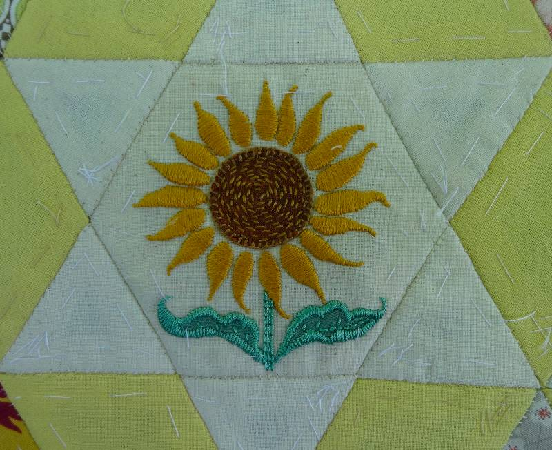 Ipsden Church Oxon Patchwork Altar Frontal Detail Of Sunflower Hand Embroidered By
