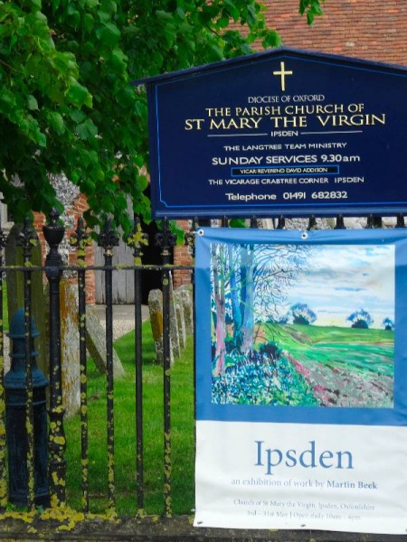 Martin Beek: Exhibition poster at the gate to Ipsden Church.