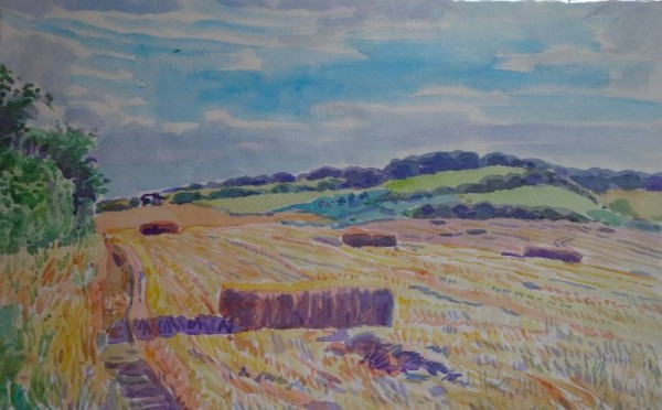 Martin Beek: Hay bales, Ipsden. August 2012 (watercolour)