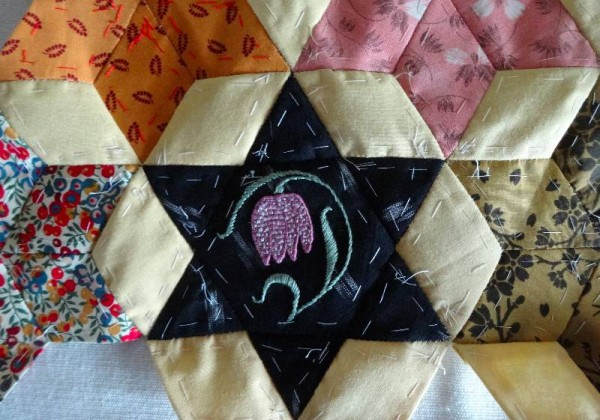 Ipsden Church, Oxon: patchwork altar frontal, detail of snake's head fritillary (hand embroidered by Mary Addison)