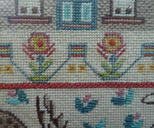 Needlepoint sampler detail