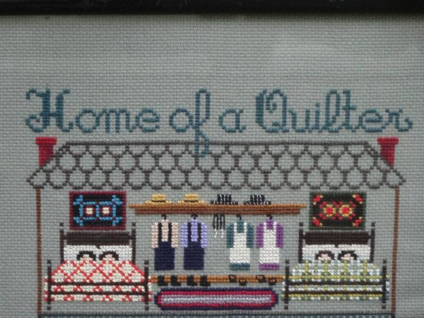 Home of a Quilter sampler in counted cross stitch: detail.