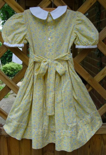 Smocked dress in Laura Ashley lawn: back view