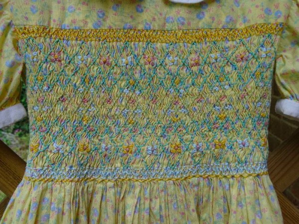 Smocked dress in Laura Ashley lawn: detail of smocking.