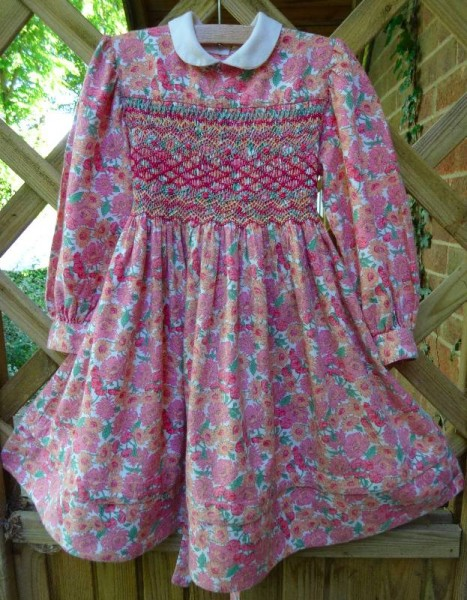 Smocked dress in Liberty wool/cotton mix