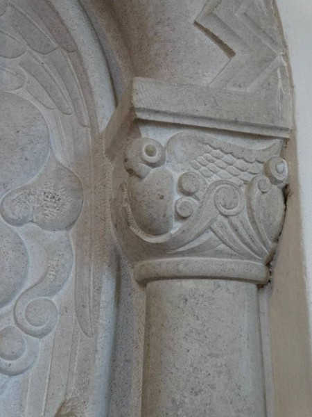Rothbarth Memorial by Eric Kennington in Checkendon Church: detail showing owl capital