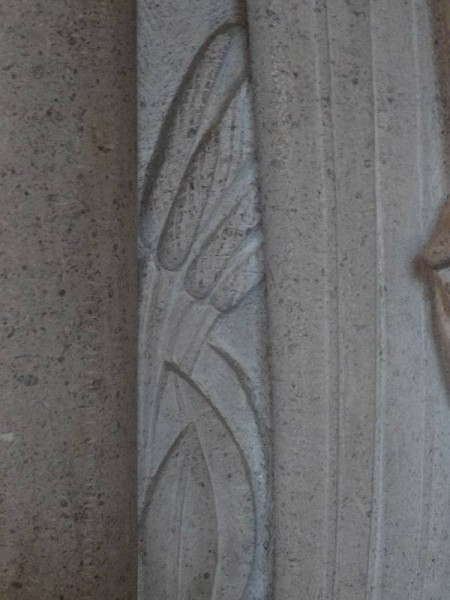 Rothbarth Memorial by Eric Kennington in Checkendon Church: detail showing bulrushes