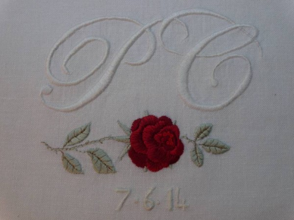 P & C Wedding monogram with rose (hand embroidered by Mary Addison)