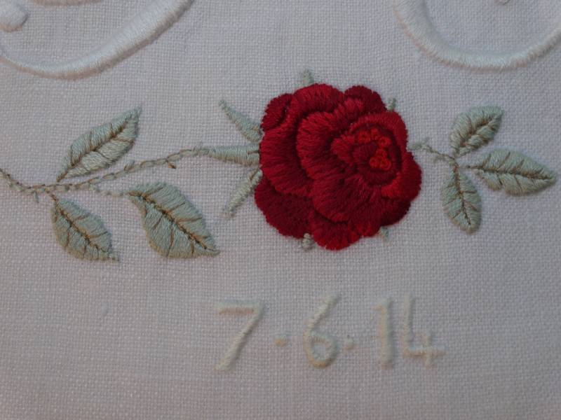 P c embroidered wedding monogram with rose addison