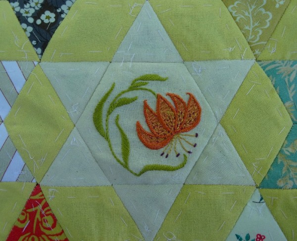 Altar frontal: Tiger lily (hand embroidered by Mary Addison)