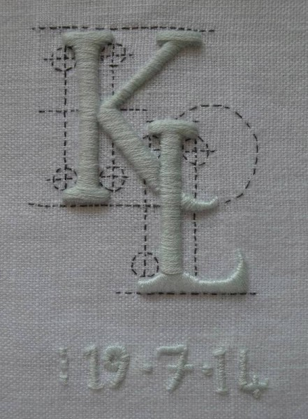 K & L Wedding monogram (hand embroidered by Mary Addison)