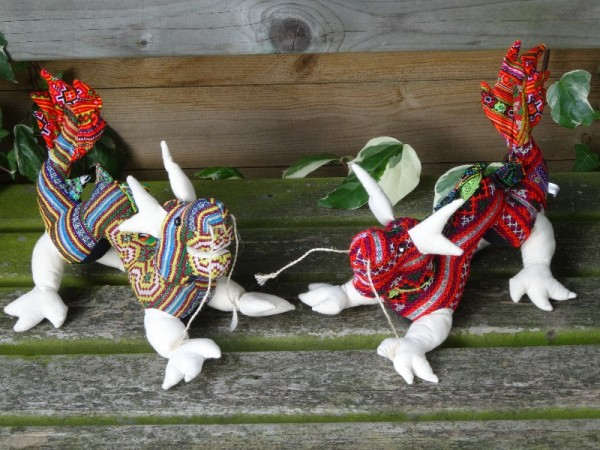 Hand crafted Vietnamese dragons made from new and vintage fabrics