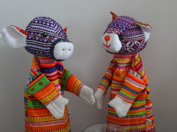 Hand crafted hand puppets made from new and vintage textiles