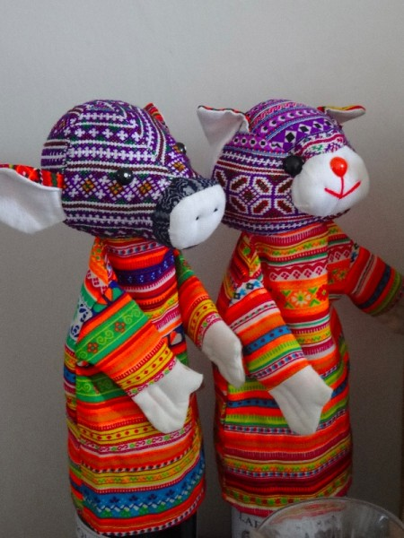 Hand crafted Vietnamese hand puppets in new and vintage textiles