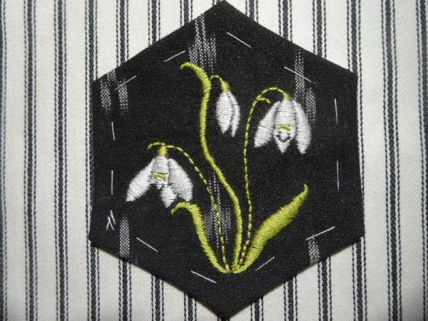 Altar frontal for Ipsden Ch. Oxon: snowdrop (hand embroidered by Mary Addison)