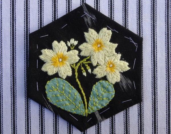 Altar frontal for Ipsden Ch. Oxon: primrose (hand embroidered by Mary Addison)