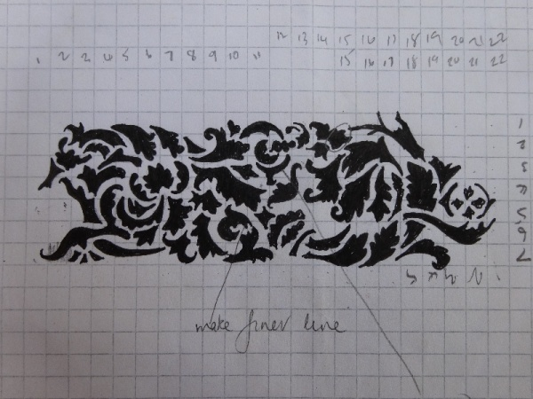 Graph paper drawing of acanthus frieze