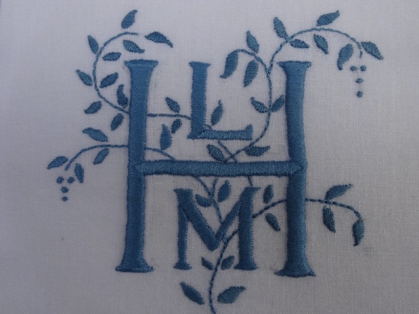 LMH monogram using woad dyed embroidery cotton