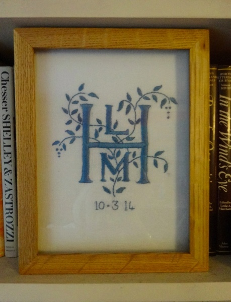 LMH monogram (hand embroidered by Mary Addison)