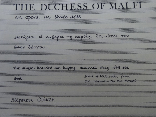 Frontispiece of score of 'The Duchess of Malfi' an opera  by Stephen Oliver