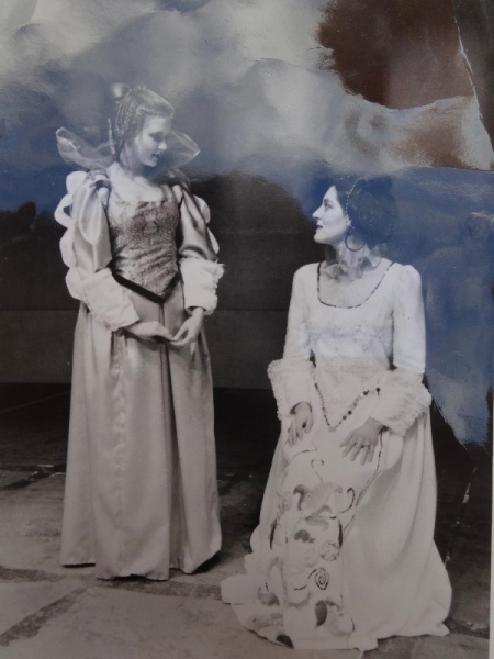 Alison Stamp as Cariola and Jillian Crowe as the duchess in Stephen Oliver's 1971 Oxford Playhouse production of his opera 'The Duchess of Malfi'