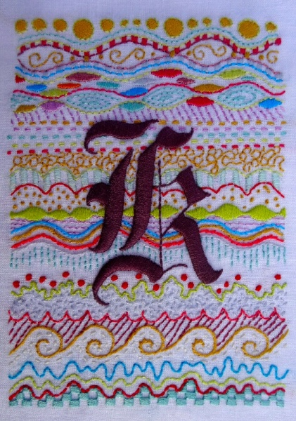 Gothic K monogram (hand embroidered by Mary Addison)