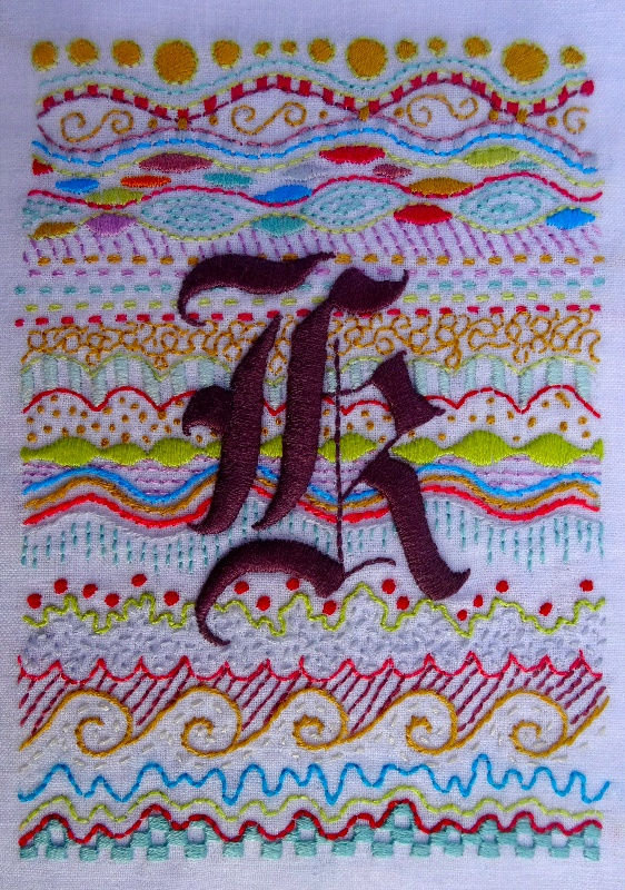 gothic k hand embroidered initial