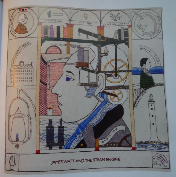 The Great Tapestry of Scotland by Andrew Moffat (Birlinn, 2013): Panel 68: James Watt and the Steam Engine