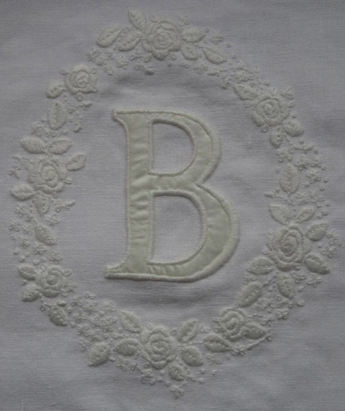 Whitework initial B with rambling roses (hand embroidered by Mary Addison)