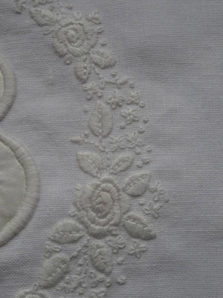 Embroidered rambling rose  on B monogram