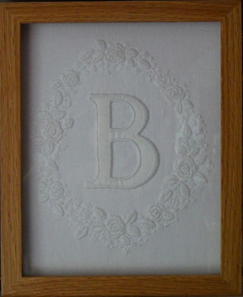 Framed initial B with rose wreath (hand embroidered by Mary Addison)