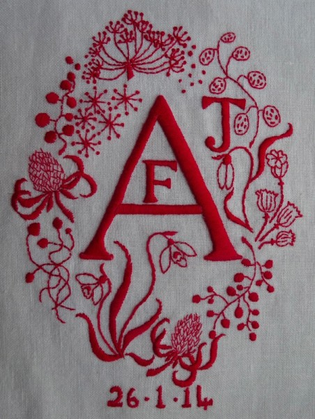 Monogram AFJ in red (hand embroidered by Mary Addison)