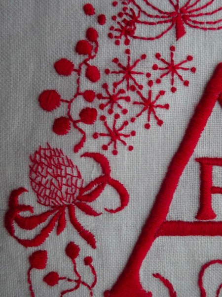 AFJ monogram: detail  (hand embroidered by Mary Addison)