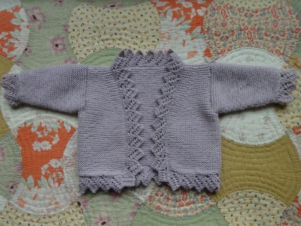 Lace edge cardigan (Debbie Bliss; in baby cashmerino)