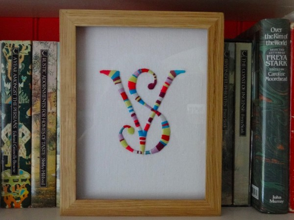 V & S stripey monogram (hand embroidered by Mary Addison)