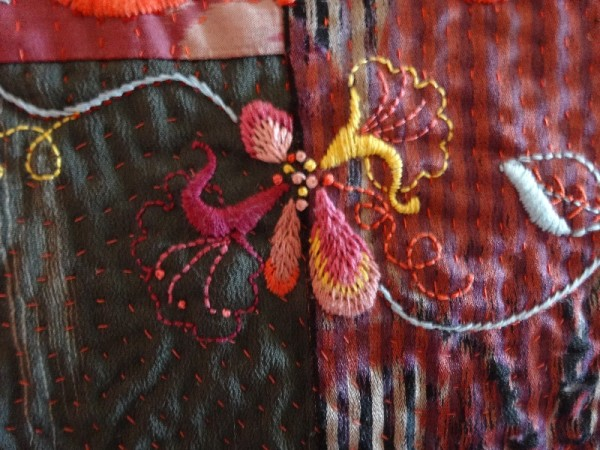 Embroidered honeysuckle on kimono silk