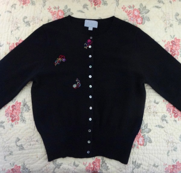 Black cardigan with just embroidered feathers (embroidered by Mary Addison)